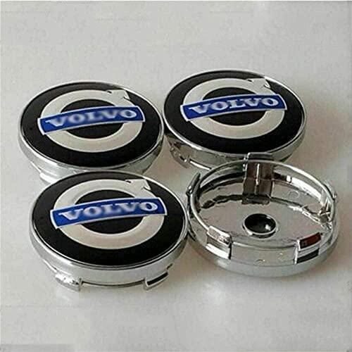 4 Piezas Tapas centrales para Volvo S40 S60L S80L XC60 XC90, Coche Central Llanta Rueda Cubre impermeable Resistente al desgaste Antióxido decoración Accesorios, 60mm