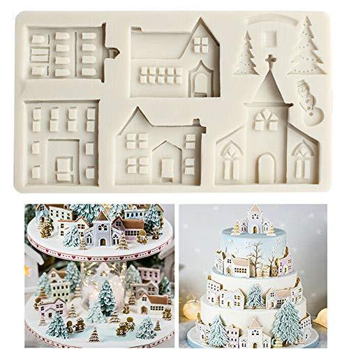 Stampo in silicone a forma di casetta con albero di Natale per decorare cioccolato biscotti dolci biscotti dessert per compleanni matrimoni feste di nascita Natale decorazione per torte fai da te
