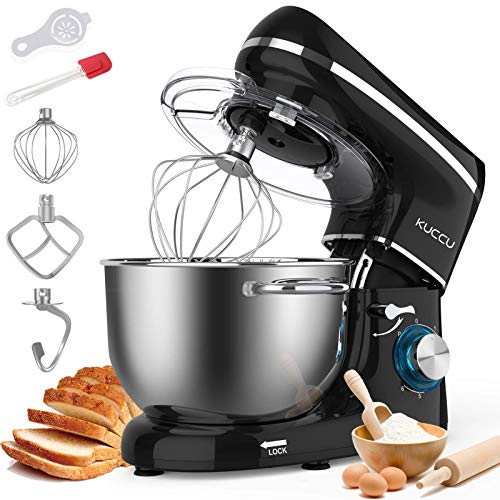 Kuccu Stand Mixer, 6 Qt 660W, 6-Speed Tilt-Head Food Dough Mixer, Kitchen Electric Mixer with Stainless Steel Bowl,Dough Hook,Whisk, Beater, Egg white separator (6-QT, Silver-1) (Renewed)