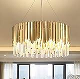 Kristall Pendelleuchte Esszimmer Kronleuchter Rund Modern Design Lampe Hängeleuchte Gold Esstischlampe Höhenverstellbar K9 Kristallleuchte Pendellampe für Esstisch Wohnzimmer Küche, 6 flammig Ø50cm