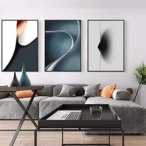 SYyshyin mural negro marco nórdico contraste línea geométrica decorativa pintura mural 30*40/40*60cm HD micro spray 3pcs/set moderno minimalista personalidad dormitorio hogar sala de estar sofá hote