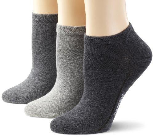 Camano Sneaker Socken im 3er-Pack, grau/weiß/schwarz, Gr. 43-46