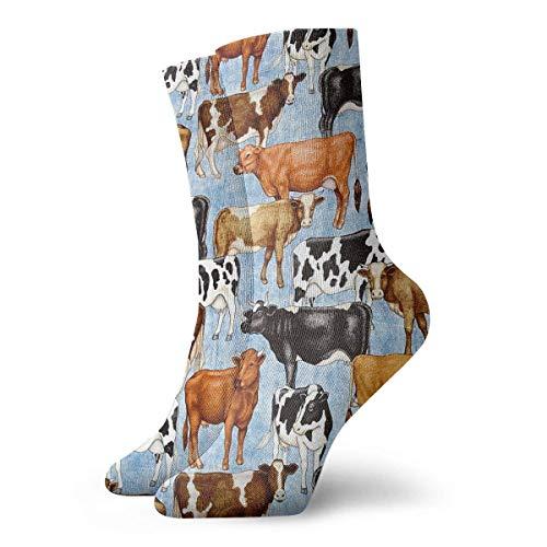 QUEMIN Calcetines transpirables generosos animales de granja calcetines exóticos modernos para mujeres y hombres calcetines deportivos estampados deportivos de 30 cm