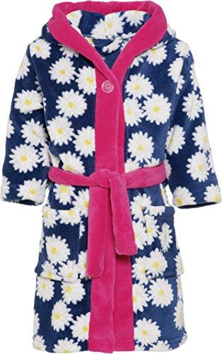 Playshoes Kinder Fleece-Bademantel mit Kapuze, flauschiger Morgenmantel für Mädchen, mit Blumen-Muster, Blau (Marine 11), 6-12 Monate (Herstellergröße: 74/80)