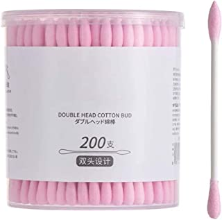 NJC Cotton Swab Double Head Baby Cotton Buds Ears Cleaning Cosmetics Health Care Make Up Remover Tool(2 Boxes) (Color : Pink)