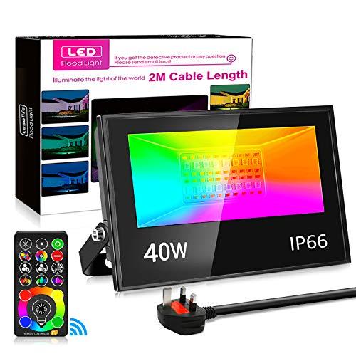 250w Equivalent Flood Light Outdoor IP66 Waterproof RGB Flood Light Dimmable 40w LED Floodlight Auto...