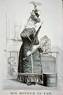 Infinite Photographs Photo: His mother-in-law,c1877,Currier & Ives Photo,woman,hat,dress,umbrella,birdcage