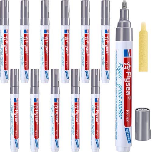 12 Stücke Fugenmörtel Fliesen Stift Fugenmörtel Restaurierung Stift Erneuern Reparatur Markierung für Fliesen Wand Boden (Hellgrau)