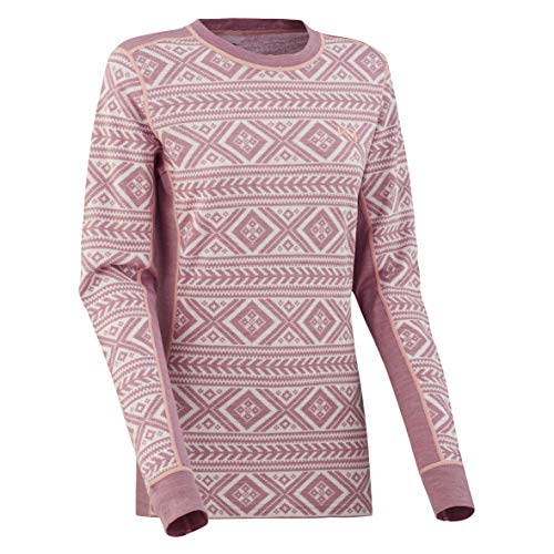 Kari Traa Women's Floke Base Layer Top - Long Sleeve Merino Wool Blend Thermal Shirt Petal X -Large