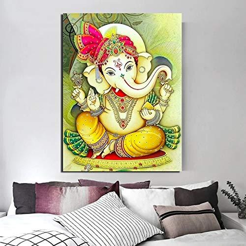 tzxdbh 31X46cmMit Rahmen Lord Ganesha Leinwand Malerei Druck Wohnzimmer Wohnkultur Moderne Wandkunst Ölgemälde Poster Bilder Zubehör Kunstwerk
