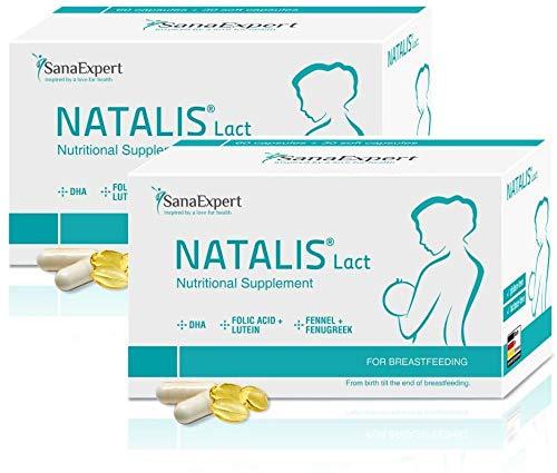 PACK 2 | SanaExpert Natalis Lact | INTEGRATORE PER L'ALLATTAMENTO | con DHA, acido folico, finocchio e fieno greco (90 capsule). Ingredienti 100% naturali. Prodotto in Germania.
