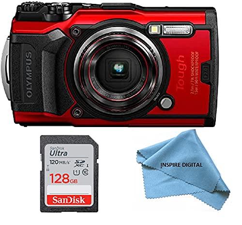 Olympus Tough TG-6 Waterproof Camera, Red, Bundle with: Sandisk 128GB Ultra Memory Card + Inspire Digital Cloth