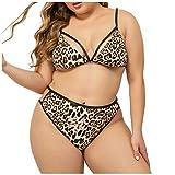 SatinGold Leopardenmuster Bikini Set Badeanzug BH und Tanga, Damen Babydoll Sexy Swimsuit Pyjama in Große Größen, Erotik Schlafanzüge Schlafhemden Reizwäsche