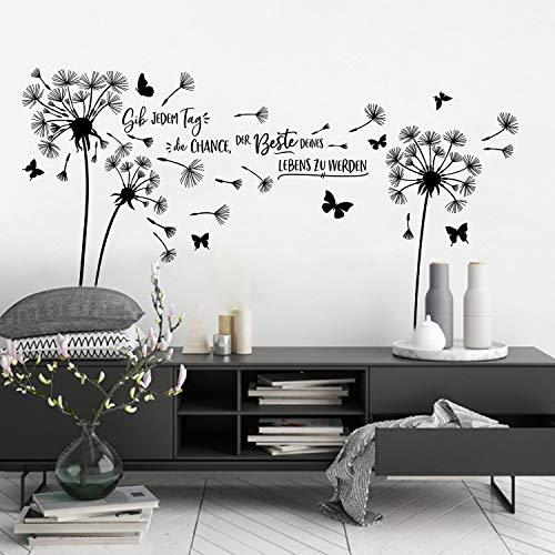 decalmile Wandtattoo Pusteblume Wandaufkleber Sprüche und Zitate Gib Jedem Tag die Chance Wandsticker Wohnzimmer Schlafzimmer Büro Wanddeko
