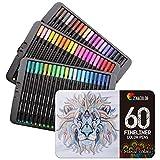 Zenacolor 60 Rotuladores Punta Fina 60 Colores Únicos - Boligrafo Fineliner 0,4 mm Colorear, Dibujar, Manga, Mandalas y Lettering