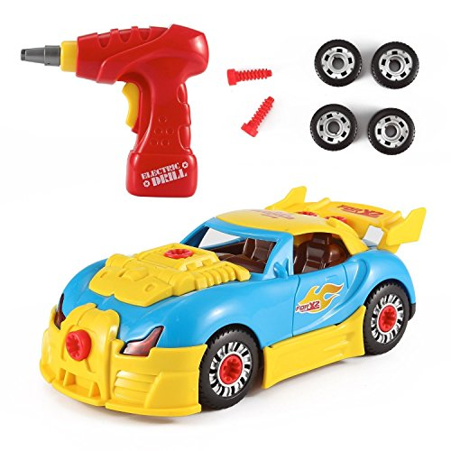 FMT World Racing Car Take-A-Part Toy for Kids with 30 Take Apart Pieces, Tool Drill, Lights and Sounds