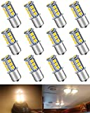 ALOPEE-(Pack of 12) Warm White LED Auto Bulb for RV Interior Light, Camper Turn Signal Light Tail BackUp Light 1156 BA15S 7506 1141 1003 1073, with 18pcs 5050 Imported Chips, 3000K, 12V-DC Only.
