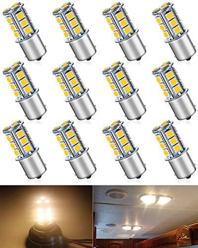 Paquet de 12 1156 BA15S 1156NA 7506 1141 1003 1073 Blanc Chaud 3000k LED Lumière 12V-DC 5050 18 SMD Voiture de Remplacement pour Intérieur RV Camper Feux de Clignotant Back Up Eclairage Inversé