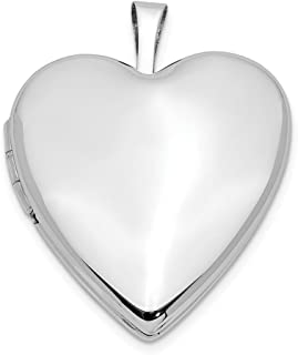 Jewels By Lux 14K 20mm White Gold Plain Polished Heart Locket