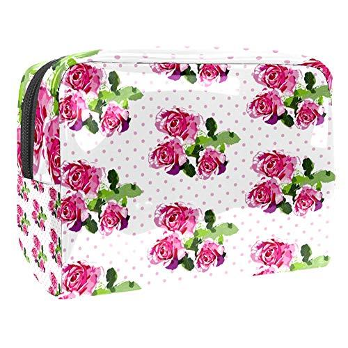 Trousse de maquillage portable en PVC - 18 x 7,6 x 13 cm - Poissons roses