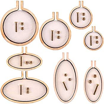 Jovitec 8 Sets Mini Ring Embroidery Hoop Wooden Mini Cross Stitch Hoop for Frame Craft Favors  Color Set 1