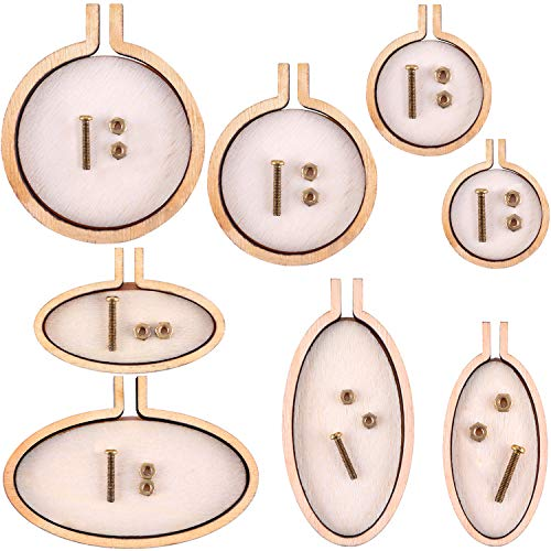 Jovitec 8 Sets Mini Ring Embroidery Hoop Wooden Mini Cross Stitch Hoop for Frame Craft Favors (Color Set 1)