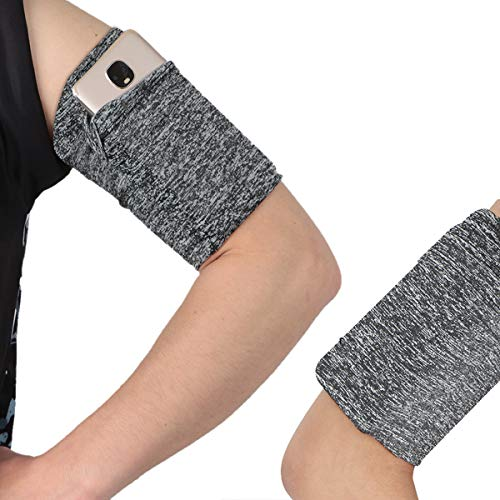 Cellphone Wristband Armband Sleeve Case Strap Holder Compatible with iPhone 6 6S 7 8 Plus X XR XS 11 Android Samsung Galaxy Google Pixel for Biking Running Walking Hiking Jogging -Long/Variegated Grey