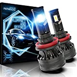 NINEO M2S H11 LED Headlight Bulbs With Small Fan - H8 H9 6500K Extremely Bright All-in-One Conversion Kit - 360 Degree Adjustable Beam Angle Chips Halogen Replacement