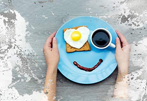 Blankokarte, Glückwunschkarte Blanko, Karte ohne Text, im Format DIN B6 176 x 125 mm, Klappkarte inkl. Umschlag, Motiv: Frühstück