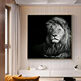SHKJ Cuadro de Animales nórdicos Lienzo Moderno en Blanco y Negro Cuadro de león póster Arte de Pared decoración del hogar 90x90cm / 35.4'x35.4 Sin Marco