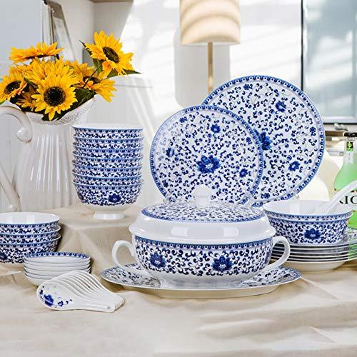 WBHZ Juegos de vajilla de Porcelana de Hueso de 56 Piezas, Juego de vajilla de Porcelana de Primera Calidad, Platos de Cocina y Comedor para el hogar, Cuencos de Sopa, Ensalada,Servicio para10