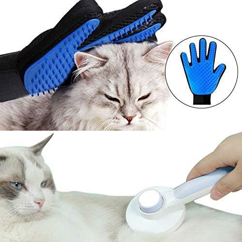 KuraMart Self Cleaning Slicker Brush /& Pet Massage Grooming Glove for Dogs and Cats,Gently Pet Massage Grooming Tool Hair Remover Brush for Shedding,Efficient Deshedding Brush Glove Mitt