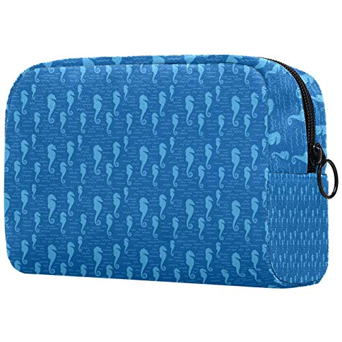 Travel Toiletry Bag Nylon, Dopp Kit Shaving Bag Toiletry Organizer,Hippocampus Blue Nautical