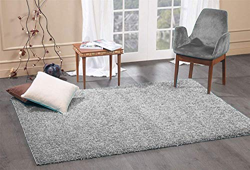 FunkyBuys Shaggy Rug Plain 5cm Thick Soft Pile Modern 100% Berclon Twist Fibre Non-Shed Polyproylene Heat Set - AVAILABLE IN 6 SIZES On Amazon (Silver, 160cm x 230cm (5ft 3' x 7ft 7'))