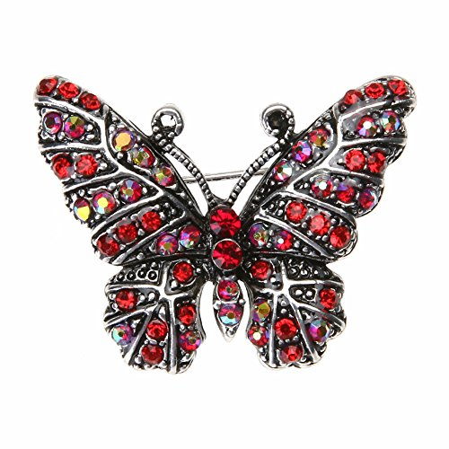 Demiawaking Vintage Rhinestone Brooches for Women, Ladies Colorful Butterfly Crystal Brooch Pins Corsage Wedding Bouquet Decor