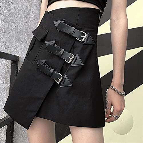 Street Punk Faldas Irregular Mini Cintura alta Faldas Ladies Verano Harajuku Falda corta sólida Más Tamaño (Color : Black, Size : 4X-Large)