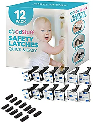 Cabinet Locks Child Safety Latches - Quick and Easy Adhesive Baby Proofing Cabinets Lock and Drawers Latch - Child Safety with No Magnetic Keys to Lose, and No Tools, Drilling or Measuring Required from The Good Stuff