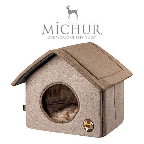 Michur Katzenhaus & Hundehaus Malte, Hundehütte, waschbare Kuschelhöhle für Katzen und Hunde in edlem braun, mit beidseitig anwendbarem Kissen, für kleine Hunde und Katzen, Länge: 45cm x Breite: 55cm