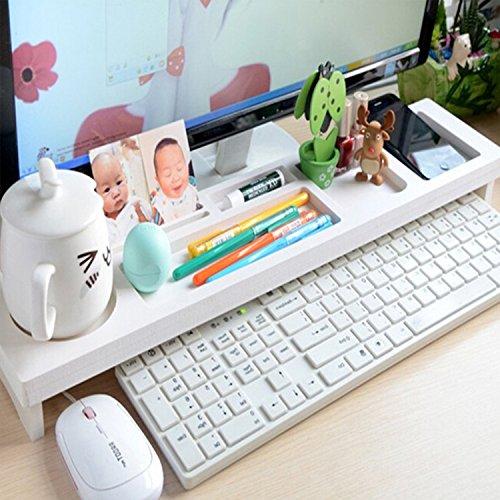 yazi weiß Holz Schreibtisch Organizer Kleine Objekte Storage Tastatur Ware Ablage für Office Home Dekoration 54x 12x 4cm
