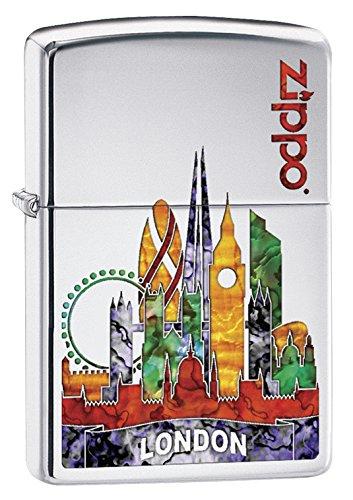 Zippo Unisex Londres Resistente al Viento Bolsillo mechero, Alta Polaco Cromo
