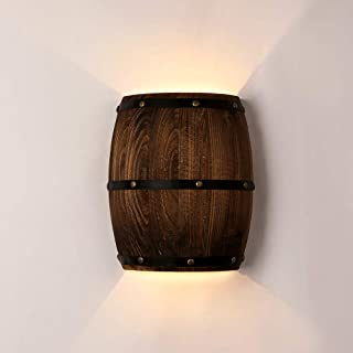 Newrays Antique 2 Lights Wood Wine Barrel Wall Sconce Lighting Fixture Up and Down Indoor Wall Lamps for Bar Area Steampun...