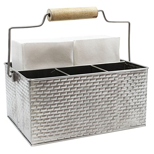 """Tablecraft Brickhouse Collection Flatware/Utensil Caddy with Handle, 10¾ x 8½ x 4¾"""""""