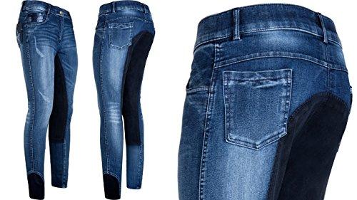 Imperial Reithose Denim Washed Jeans Vollbesatz , Größe:34, Farbe:jeansblau