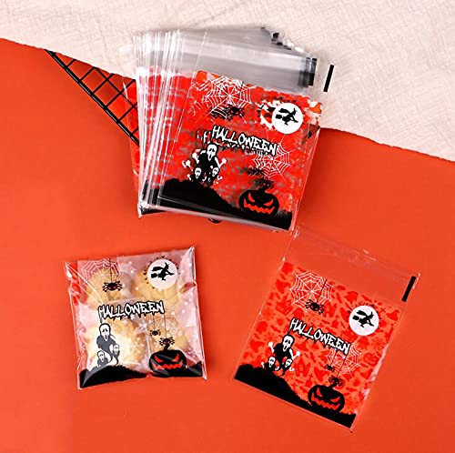 【BEAUTY PLAYER】ハロウィン ラッピング 袋 10*10+3CM キャンディー お菓子 チョコレート クッキー かぼちゃ 幽霊 小物入れ ギフトバッグ シール袋 自己接着 プレゼント(黒幽霊)
