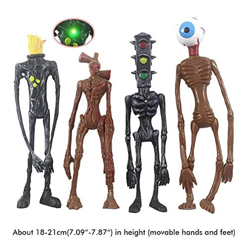 4PCS Siren Head Toys Action Figure with Light,Boys Scary Toys, Horror Monster, Cartoon Animal Figure Horror Model Doll Set, Urban Legend Foundation SCP Toys for Kids Children Birthday Gift