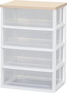 アイリスオーヤマ チェスト 木天板 4段 幅53.9×奥行40.3×高さ78cm ホワイト / フレンチオーク 白 プラスチック AJ-534PA