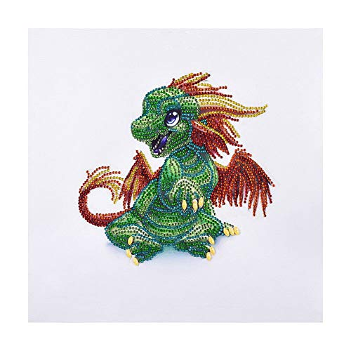Diamond Painting DIY 5D Special Shape Rhinestones, ABEUTY a Green Dragon, Partial Drill Crystal Diamond Art Kits