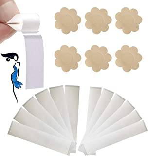 BUSOHA Fashion Beauty Tape Double Sided (72 Pack) Adhesive Wardrobe Clothing Dress Tape for Fashion and Body & 5 Pairs Adhesive Bra Petal Tops Flower-Shaped Nipple Covers