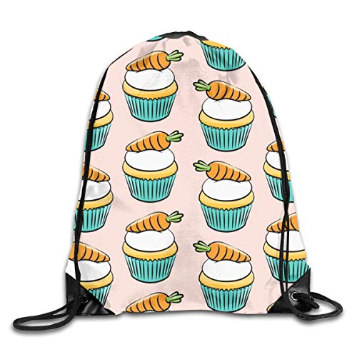 show best Carrot Cupcakes Carrot Cake Easter Spring Sweets Pink Drawstring Gym Bag for Women and Men Polyester Gym Sack String Backpack for Sport Workout, School, Travel, Books 14.17 X 16.9 Inch