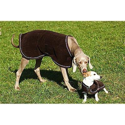 """EQUI-THÈME """"Polar"""" Hundedecke braun Einfassung hellblau Rückenlänge 31 cm"""